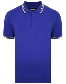 Bigdude Designer Tipped Polo Shirt Cobalt Blue