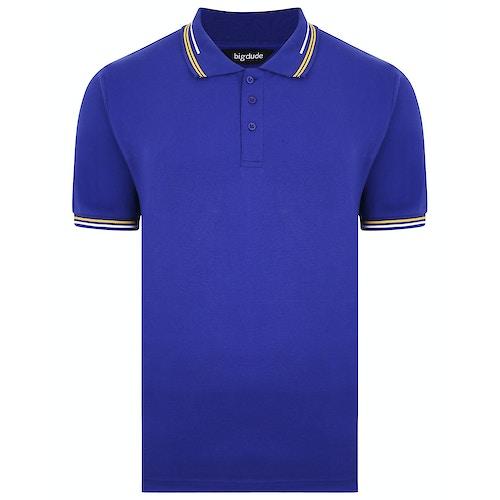 Bigdude Designer Tipped Polo Shirt Cobalt Blue