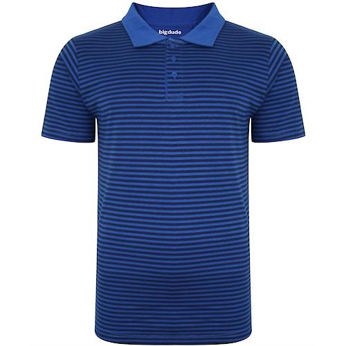 Bigdude gestreiftes Poloshirt Königsblau/Marineblau