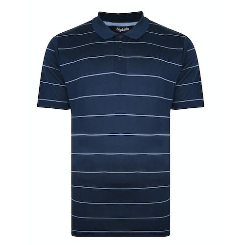 Bigdude Streifen Performance Poloshirt Blau