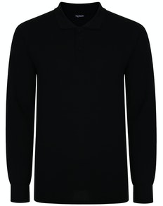 Bigdude Long Sleeve Polo Shirt Black Tall