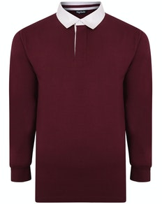 Bigdude Rugby Style Long Sleeve Polo Shirt Burgundy