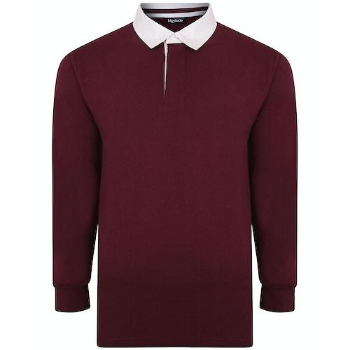 Bigdude Rugby Style Long Sleeve Polo Shirt Burgundy