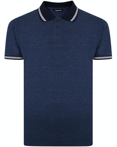 Bigdude Contrast Tipped Polo Shirt Denim Marl Tall