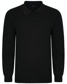 Bigdude Long Sleeve Polo Shirt Charcoal Marl Tall