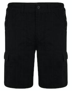 Bigdude Elasticated Waist Cargo Shorts with Zippers Black