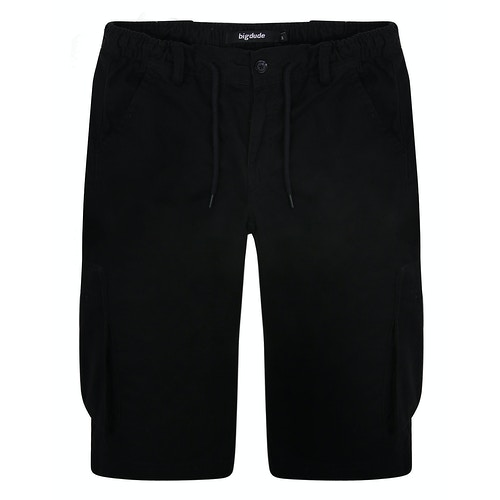Bigdude Elasticated Waist Cargo Shorts with Drawstrings Black