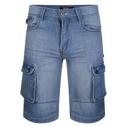 Bigdude Cargo Denim Shorts Light Wash