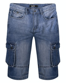 Bigdude Cargo Denim Shorts Mid Wash