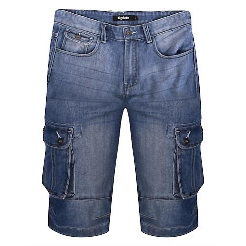 Bigdude Cargo Denim Shorts Mid Wash