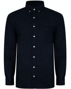 Bigdude Oxford Long Sleeve Shirt Navy Tall