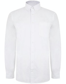 Bigdude Oxford Long Sleeve Shirt White Tall