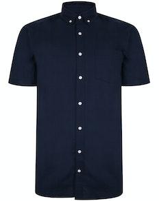 Bigdude Oxford Kurzarmhemd Marineblau
