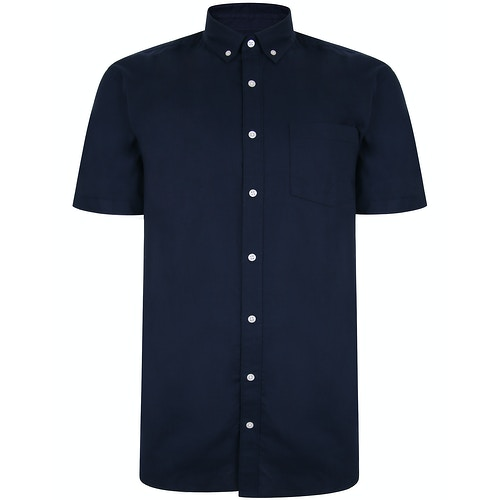 Bigdude Oxford Short Sleeve Shirt Navy Tall