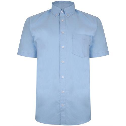Bigdude Oxford Kurzarmhemd Hellblau Tall Fit