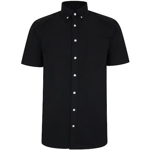 Bigdude Linen Blend Short Sleeve Shirt Black
