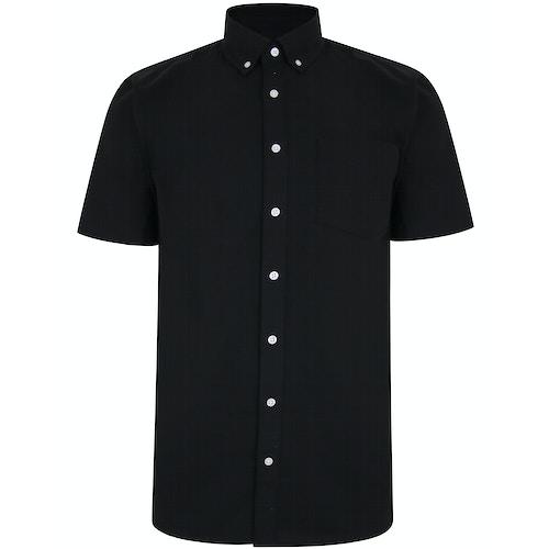 Bigdude Linen Blend Short Sleeve Shirt Black Tall