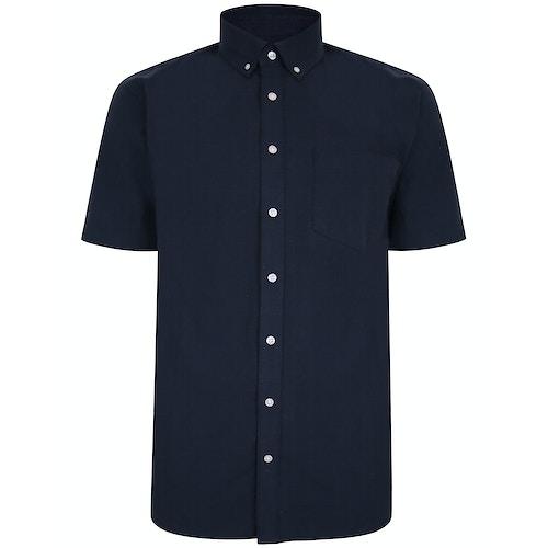 Bigdude Linen Blend Short Sleeve Shirt Navy Tall