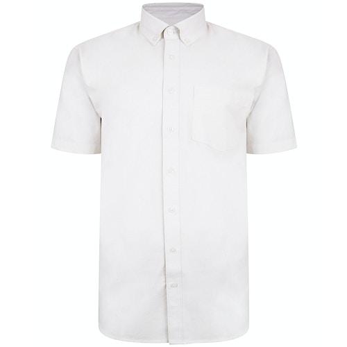Bigdude Linen Blend Short Sleeve Shirt Off White Tall