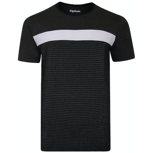 Bigdude Cut & Sew Half Tone Pattern T-Shirt Black