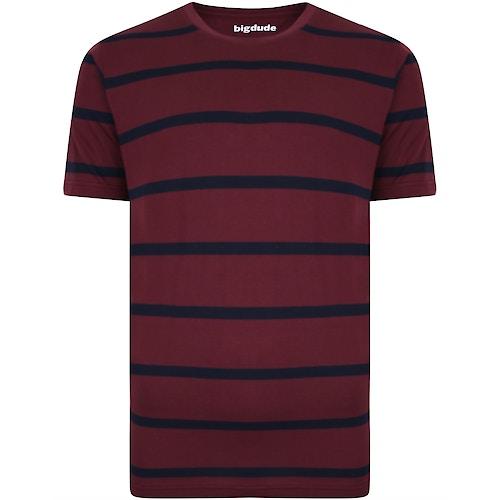 Bigdude Striped Crew Neck T-Shirt Burgundy/Navy