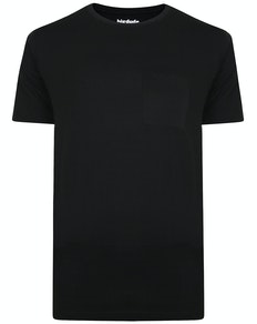 Bigdude Plain Crew Neck T-Shirt With Pocket Black