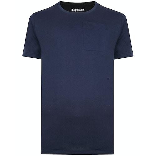 Bigdude Plain Crew Neck T-Shirt With Pocket Navy Tall
