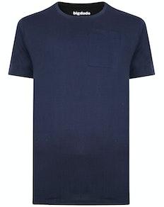 Bigdude Plain Crew Neck T-Shirt With Pocket Navy