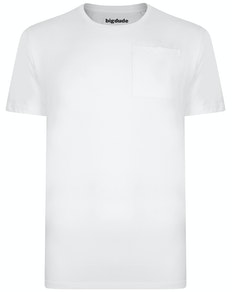 Bigdude Plain Crew Neck T-Shirt With Pocket White Tall