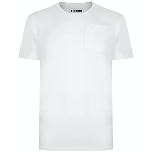 Bigdude Plain Crew Neck T-Shirt With Pocket White Tall