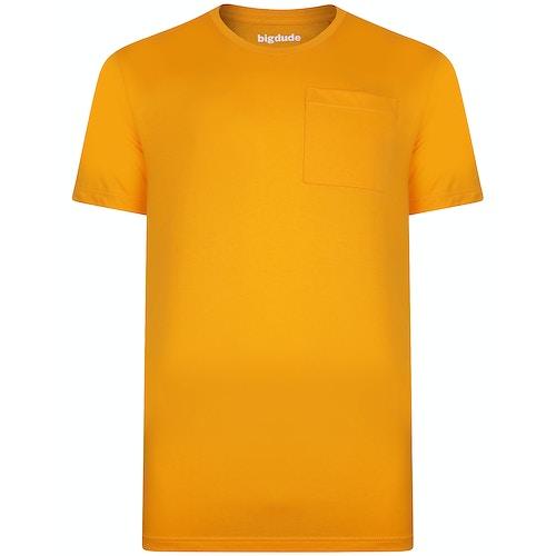 Bigdude T-Shirt mit Brusttasche Orange Tall Fit