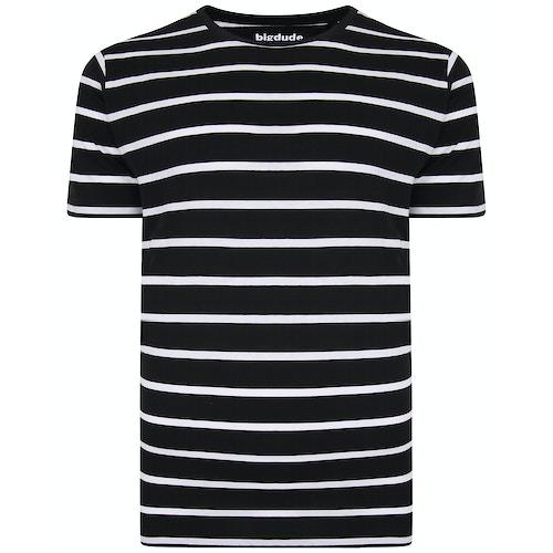 Bigdude gestreiftes T-Shirt Schwarz / Weiß