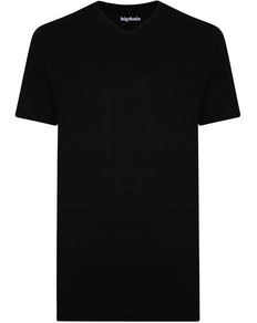 Bigdude Plain V-Neck T-Shirt Black Tall