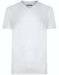 Bigdude T-Shirt V-Ausschnitt Weiß
