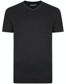 Bigdude Plain Marl V-Neck T-Shirt Charcoal Tall