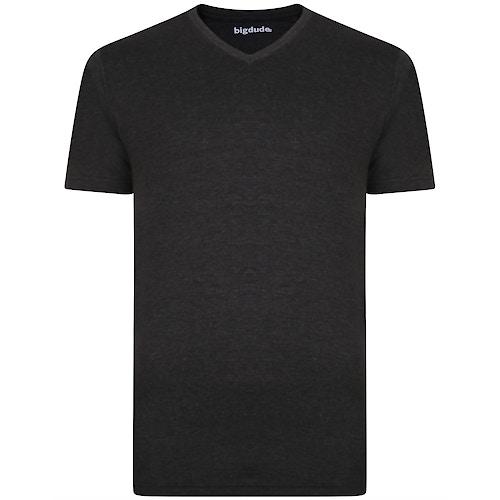 Bigdude Plain V-Neck T-Shirt Charcoal Marl