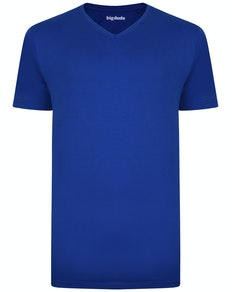 Bigdude Plain V-Neck T-Shirt Royal Blue Tall