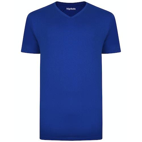 Bigdude T-Shirt V-Ausschnitt Königsblau Tall Fit