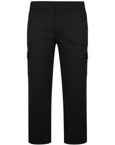 Bigdude Elasticated Waist Cargo Trousers with Zip Black