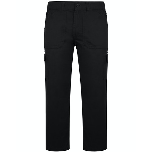 Bigdude Elasticated Waist Cargo Trousers with Zip Black