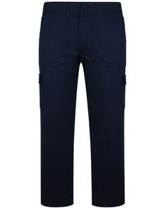 Bigdude Elasticated Waist Cargo Trousers with Zip Navy