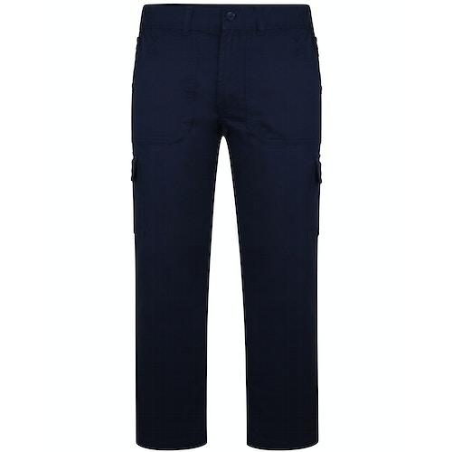 Bigdude Elasticated Waist Cargo Trousers with Zip Navy