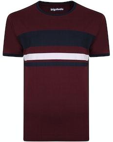 Bigdude Contrast Print T-Shirt Burgundy