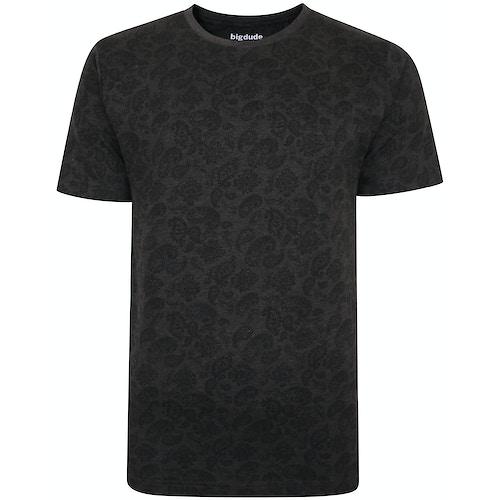 Bigdude All Over Paisley Print T-Shirt Charcoal Marl