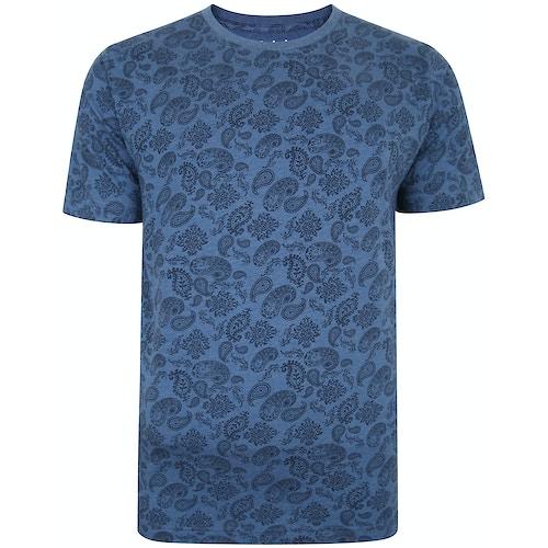 Bigdude All Over Paisley Print T-Shirt Denim Marl