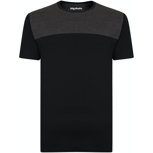 Bigdude Cut & Sew 2 Tone T-Shirt Black/Charcoal Tall