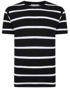 Bigdude Striped Crew Neck T-Shirt Black/White