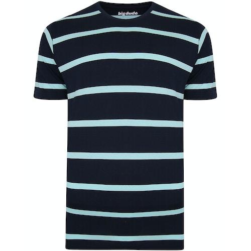 Bigdude Striped Crew Neck T-Shirt Navy/Turquoise
