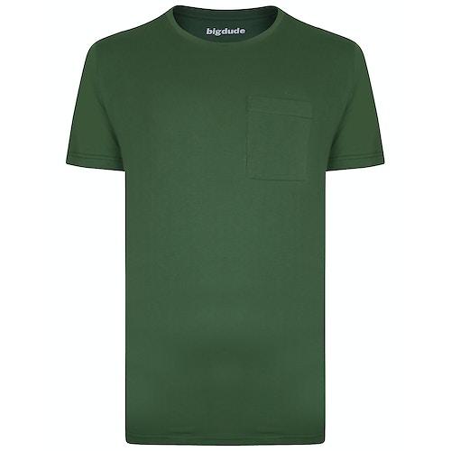 Bigdude Plain Crew Neck T-Shirt With Pocket Deep Green Tall