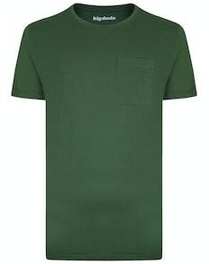 Bigdude Plain Crew Neck T-Shirt With Pocket Deep Green